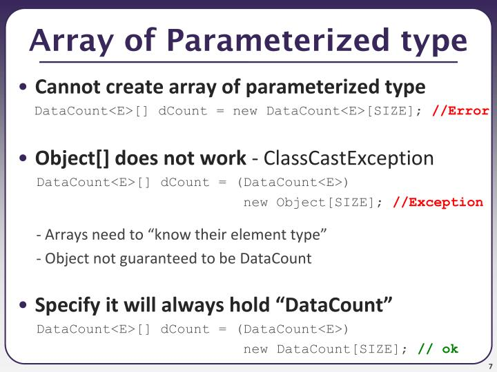 Array of Parameterized type