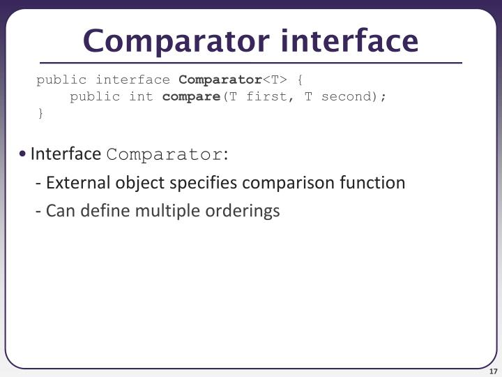 Comparator interface