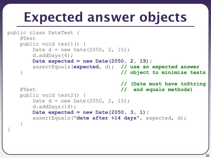Expected answer objects