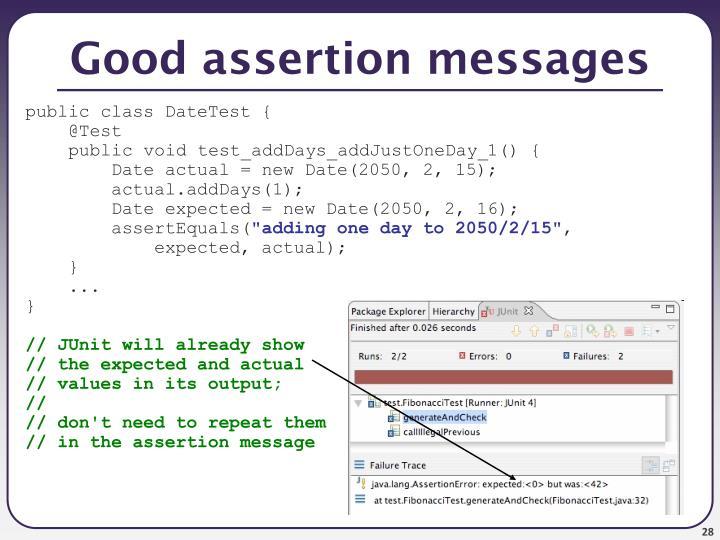 Good assertion messages