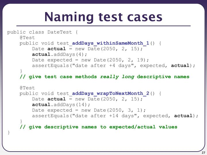 Naming test cases