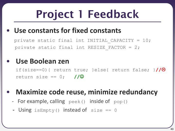 Project 1 Feedback