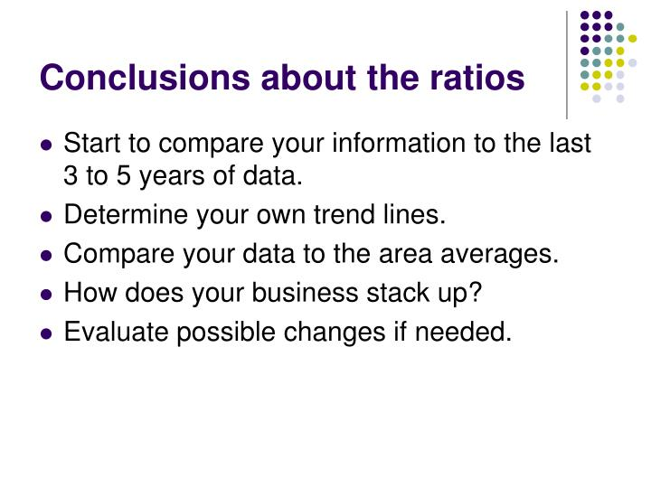 Conclusions about the ratios