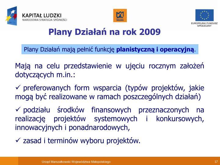 Plany Działań na rok 2009