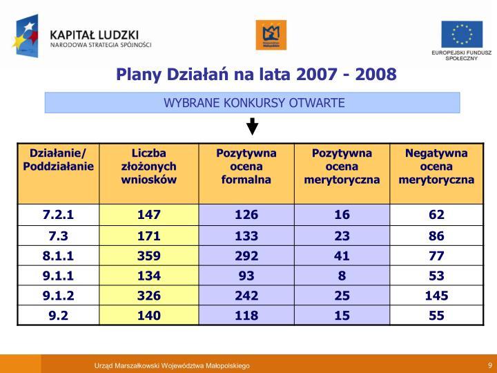 Plany Działań na lata 2007 - 2008