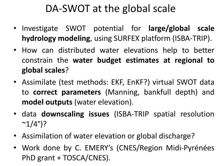 DA-SWOT at the global scale