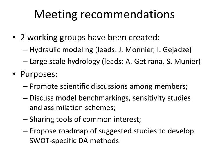 Meeting recommendations