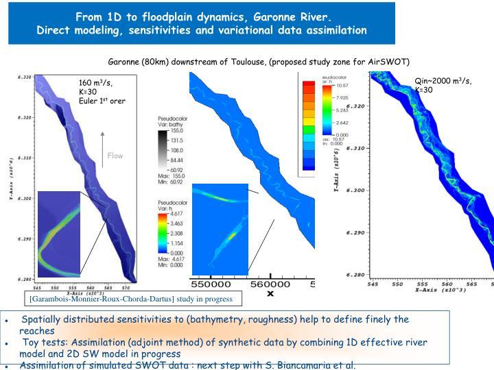 From 1D to floodplain dynamics, Garonne River.