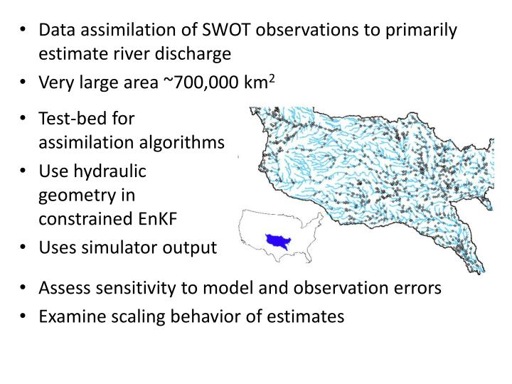 Data assimilation of SWOT observations to primarily estimate river discharge