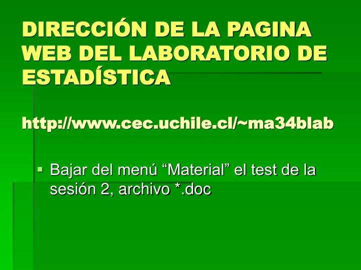 Direcci n de la pagina web del laboratorio de estad stica http www cec uchile cl ma34blab