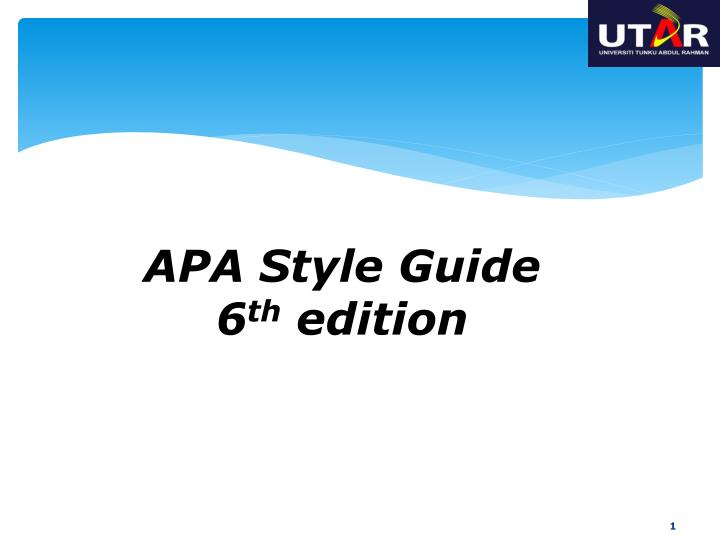 apa style guide 6 th edition n.