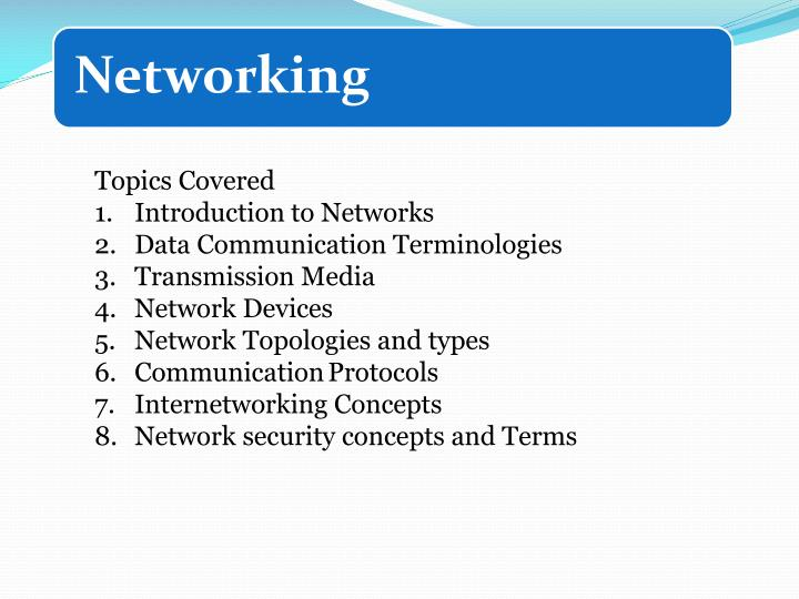 PPT - Topics Covered Introduction to Networks Data