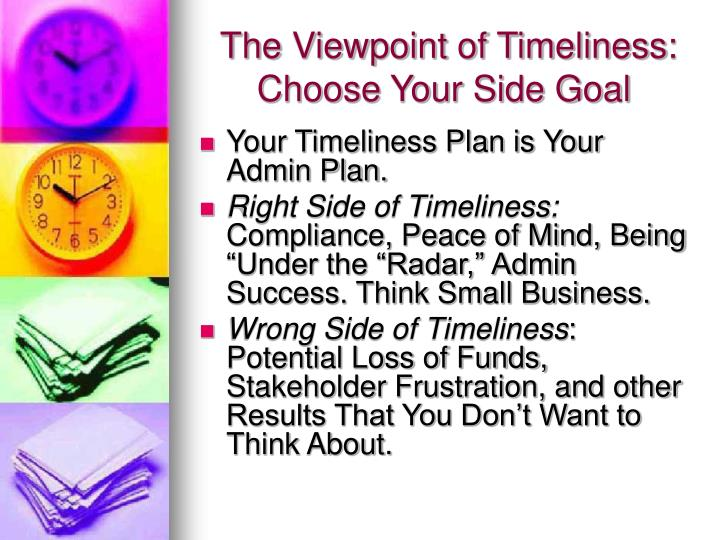 The Viewpoint of Timeliness:
