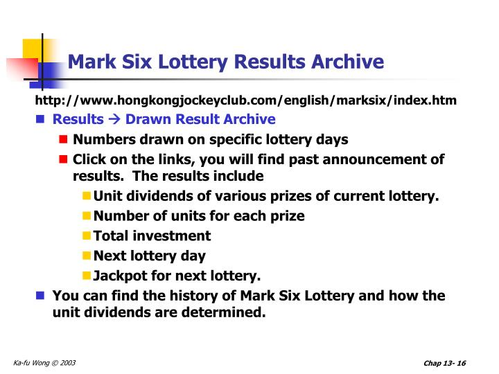 Mark Six Lottery Results Archive