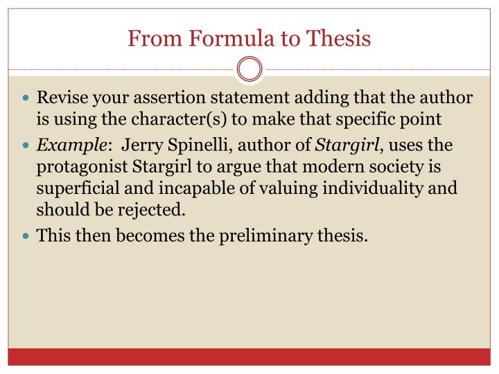 From Formula to Thesis