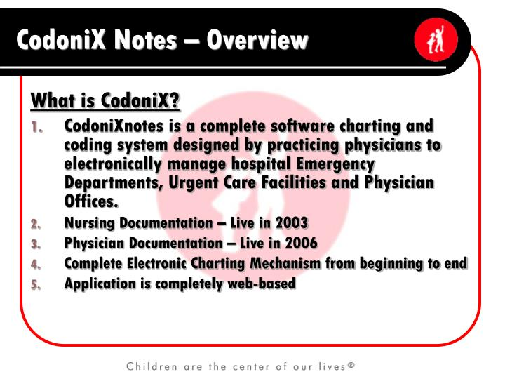 Codonix notes overview