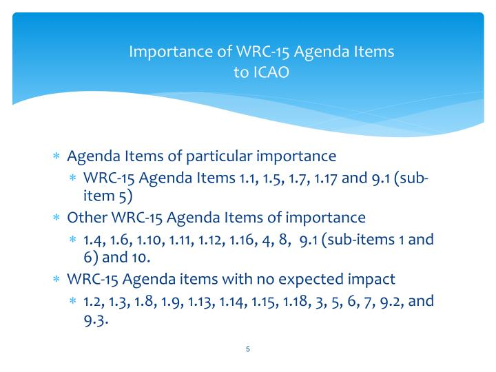 Importance of WRC-15 Agenda Items