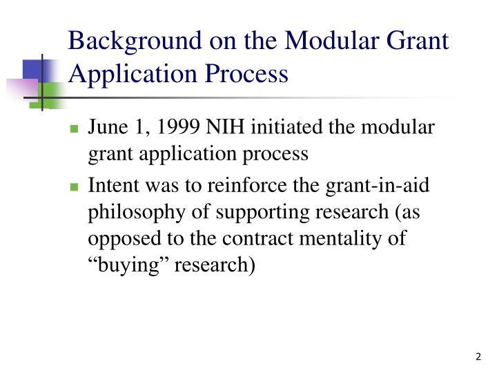 Background on the modular grant application process