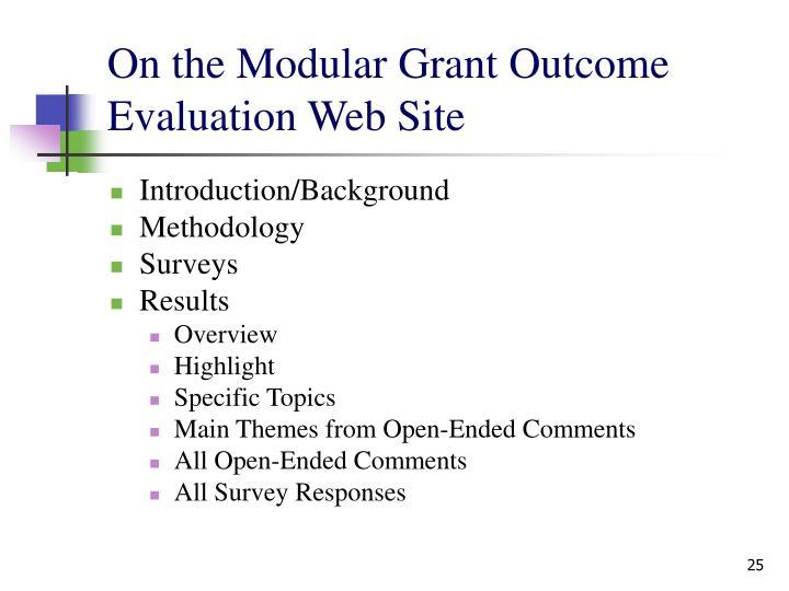 On the Modular Grant Outcome Evaluation Web Site