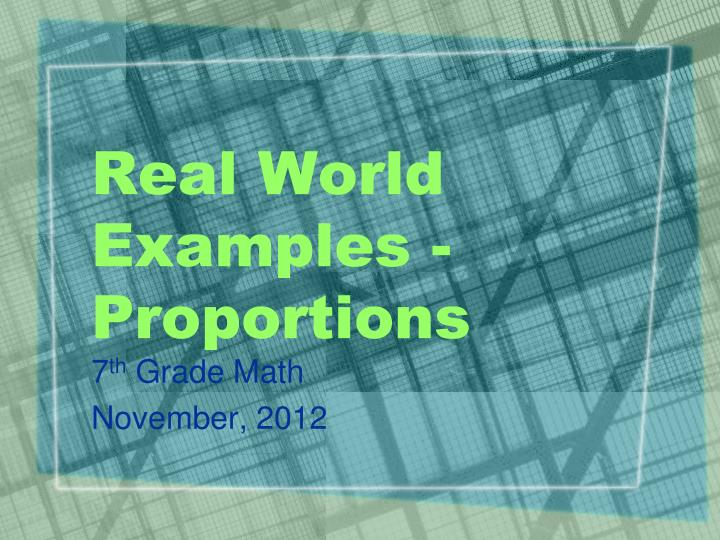 real world examples proportions n.