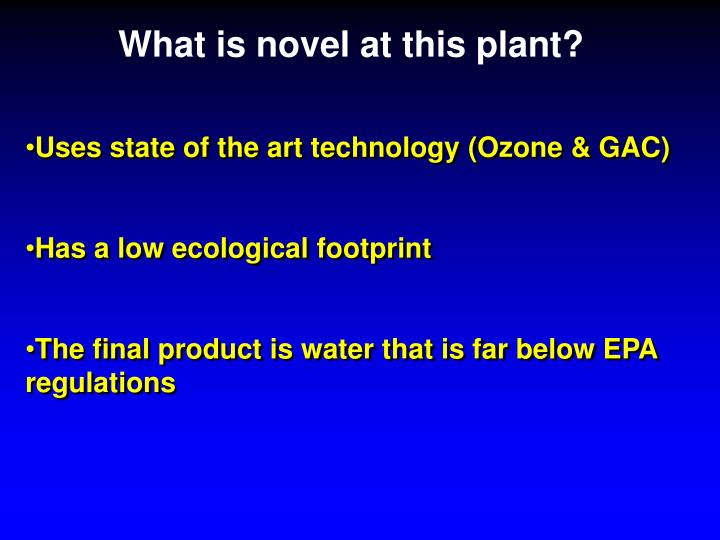 What is novel at this plant?