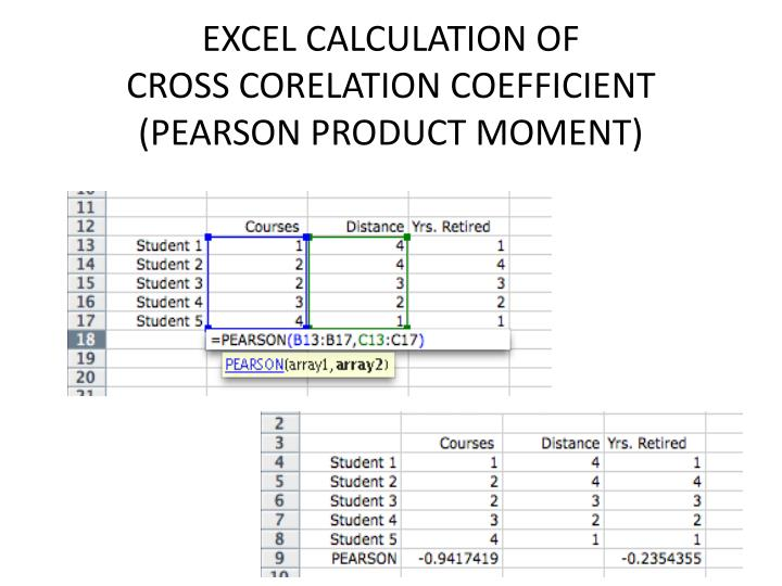 EXCEL CALCULATION OF