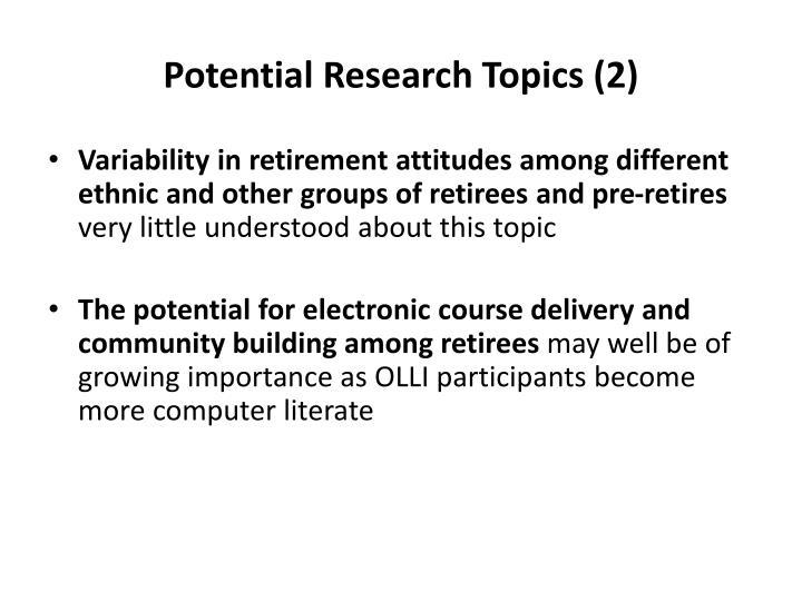 Potential Research Topics (2)