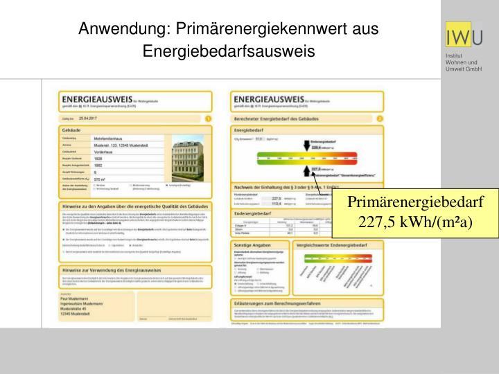 Anwendung: Primärenergiekennwert aus Energiebedarfsausweis