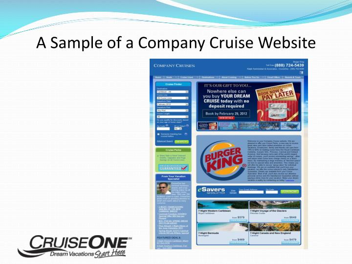 A Sample of a Company Cruise Website