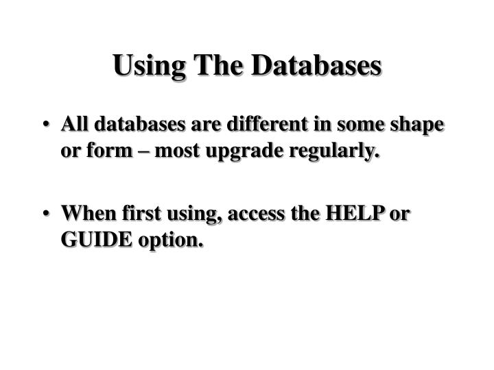 Using The Databases