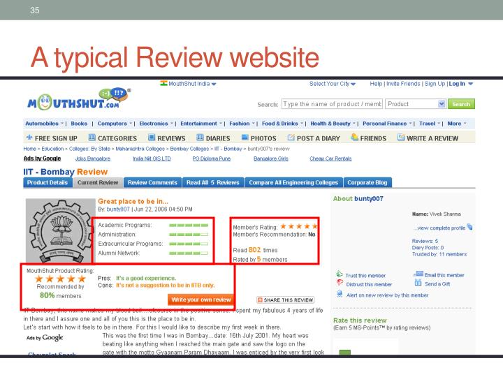 A typical Review website