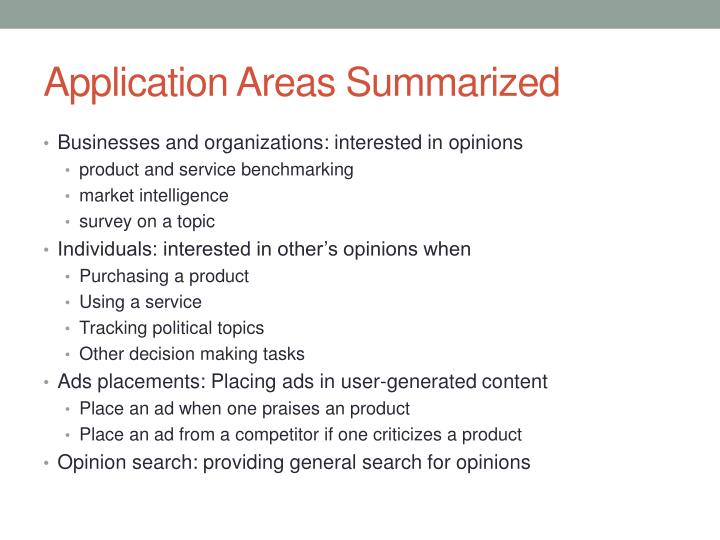 Application Areas Summarized