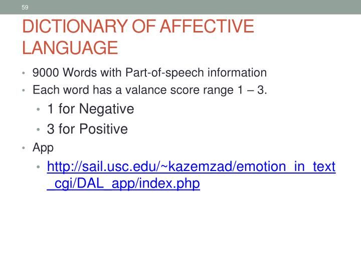DICTIONARY OF AFFECTIVE LANGUAGE