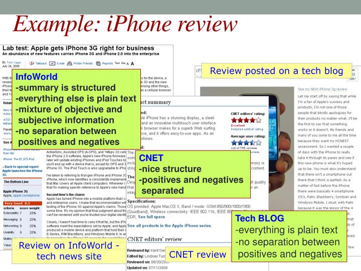 Example: iPhone review