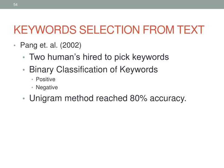 KEYWORDS SELECTION FROM TEXT