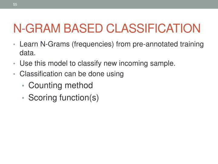N-GRAM BASED CLASSIFICATION