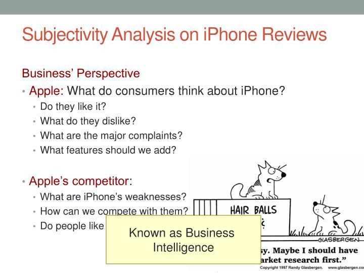 Subjectivity Analysis on iPhone Reviews