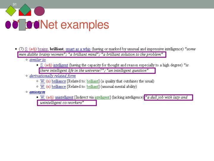 WordNet examples