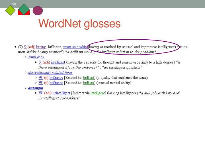 WordNet glosses