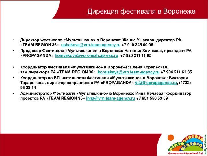 Дирекция фестиваля в Воронеже