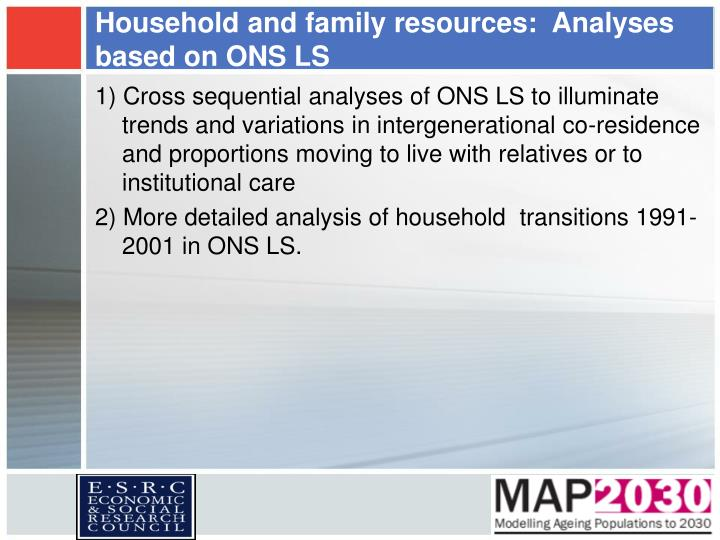 Household and family resources:  Analyses based on ONS LS