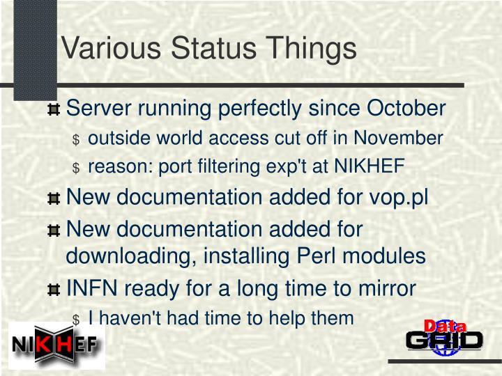 Various Status Things