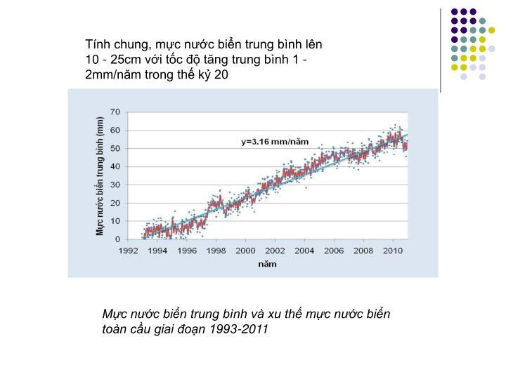 Tính chung, mực nước biển trung bình lên 10 - 25cm với tốc độ tăng trung bình 1 - 2mm/năm trong thế kỷ 20