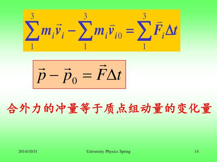 合外力的冲量等于质点组动量的变化量