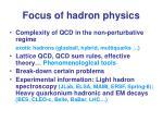 focus of hadron physics