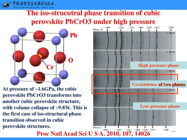 The iso-strucutral phase transition of cubic