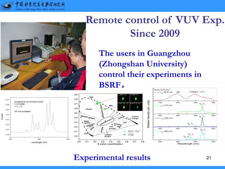 Remote control of VUV Exp.