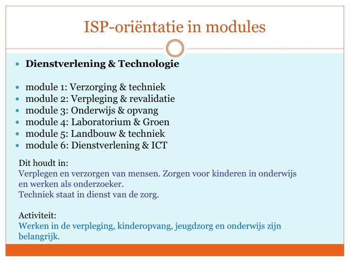 ISP-oriëntatie in modules