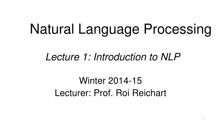 natural language processing lecture 1 introduction to nlp n.