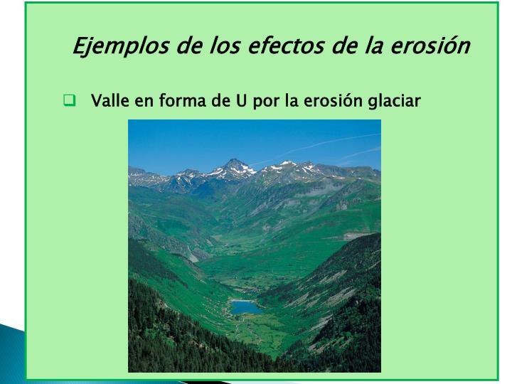 Ejemplos de los efectos de la erosión